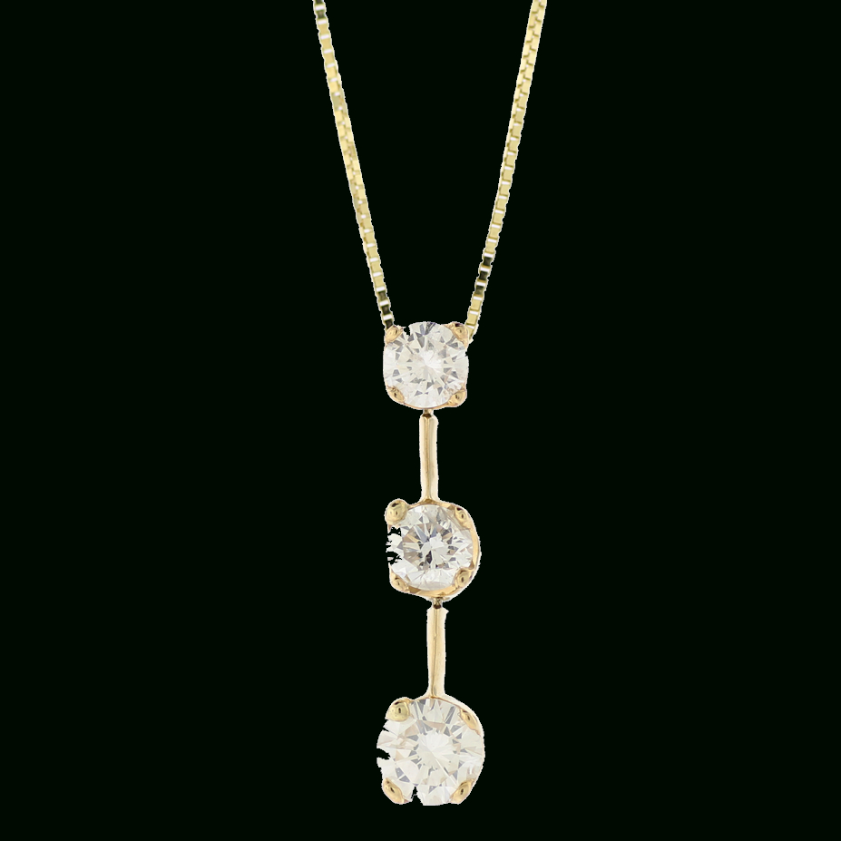 14k Yellow Gold 3 Stone Round Diamond Necklace ( (View 13 of 25)