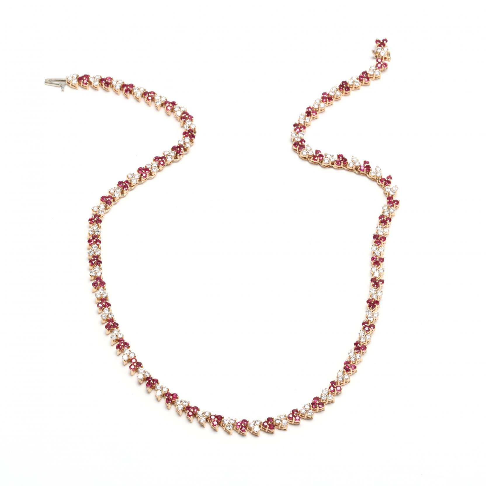 14Kt Gold, Ruby, And Diamond Wreath Necklace Intended For Most Current Diamond Wreath Necklaces (View 1 of 25)