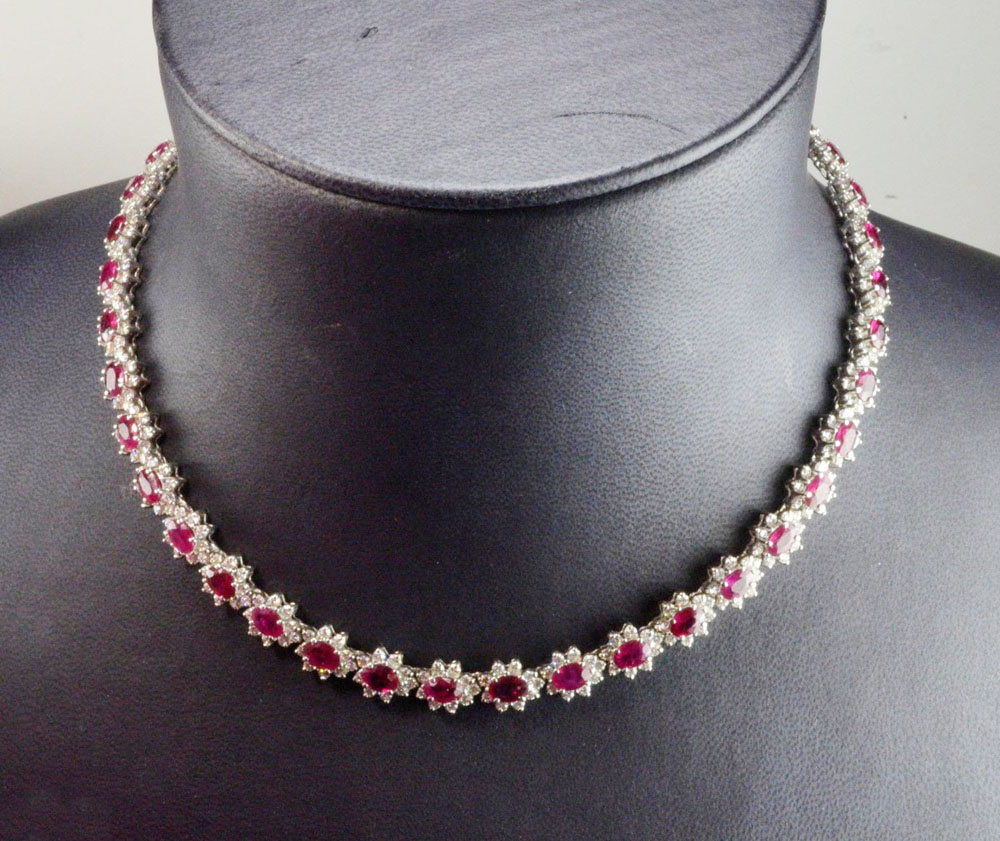 16 Inches Zircon Ruby Cluster Necklace Made With Sterling Silver Within Most Current Ruby And Diamond Cluster Necklaces (View 3 of 25)