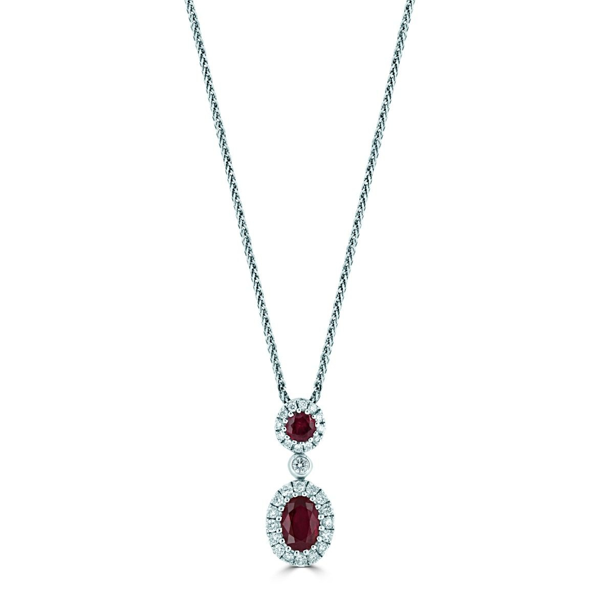 18ct White Gold Double Ruby And Diamond Cluster Drop Necklace Within 2020 Ruby And Diamond Cluster Necklaces (View 10 of 25)