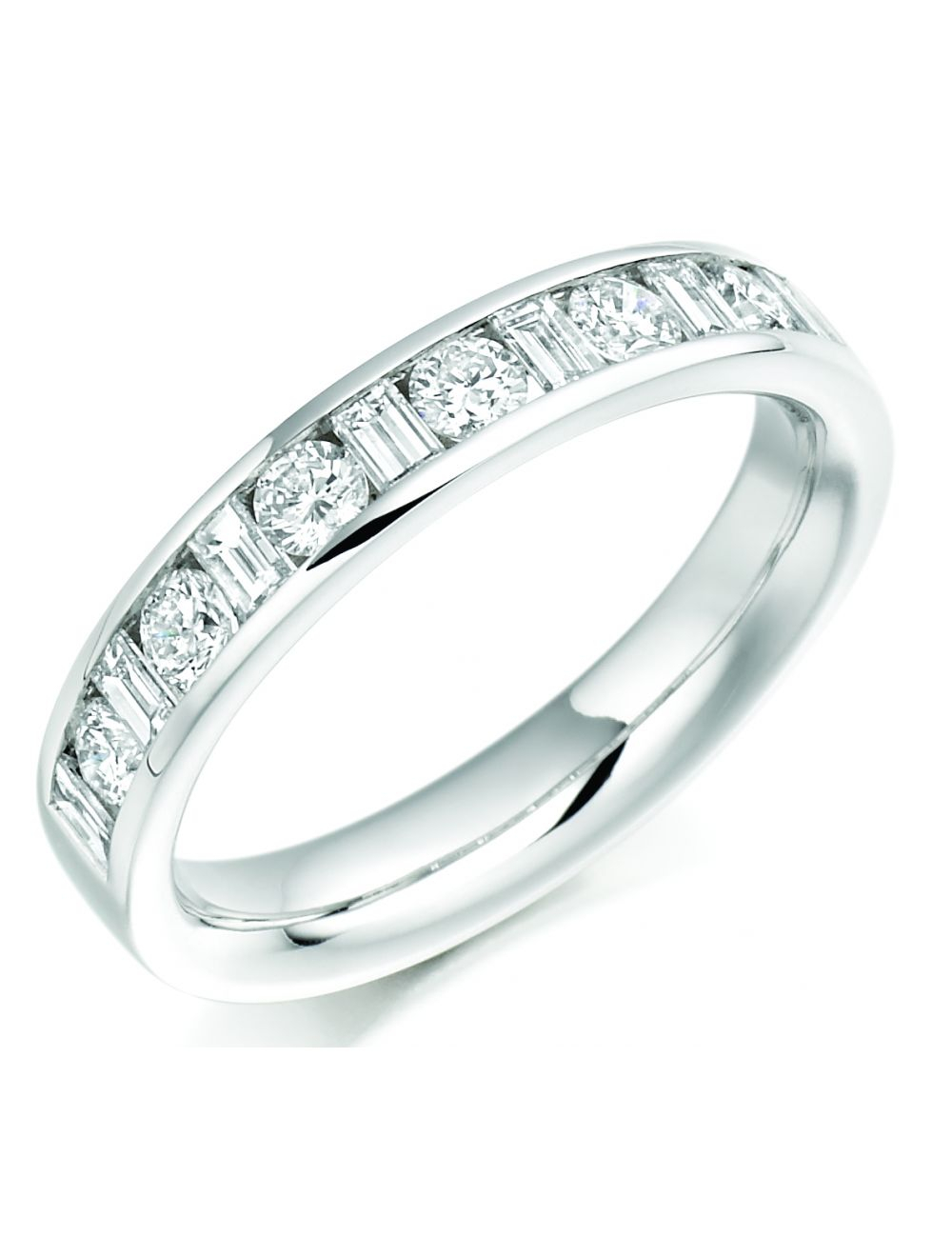 18Ct White Gold Round Brilliant & Baguette Diamond Eternity Ring Within 2017 Channel Set Round Brilliant And Baguette Cut Diamond Wedding Bands (View 2 of 25)