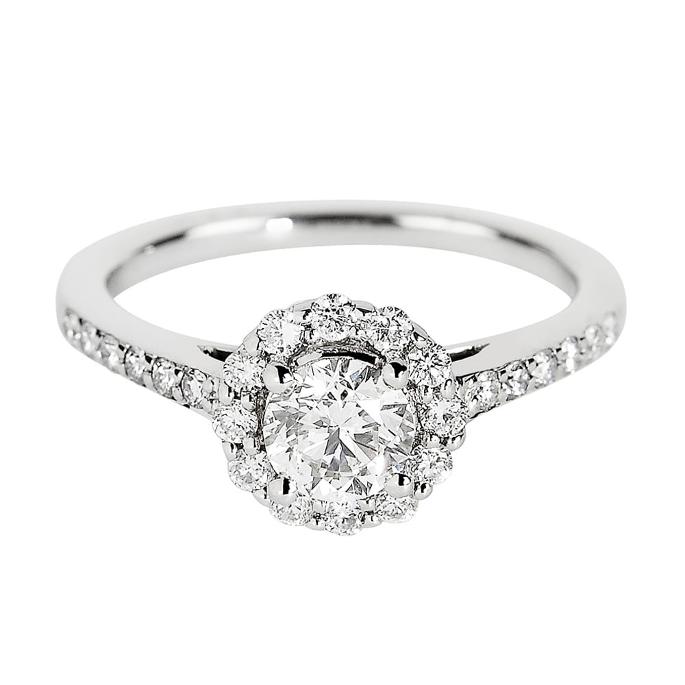 18ct White Gold Round Brilliant Cut Diamond Halo Engagement Ring Intended For Round Brilliant Diamond Engagement Rings (View 12 of 25)