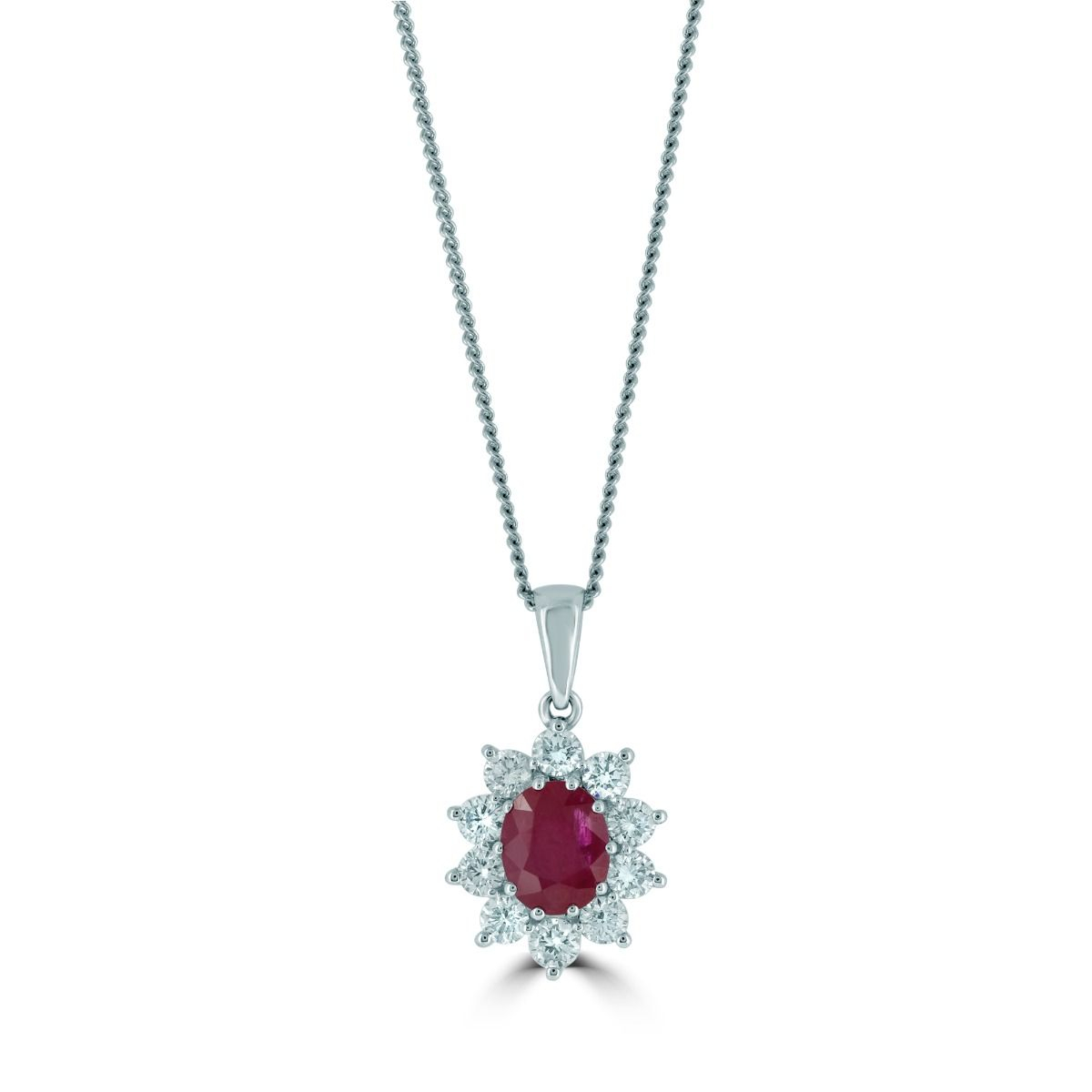 18ct White Gold Ruby And Diamond Cluster Necklace (chain Not Included) Regarding Recent Ruby And Diamond Cluster Necklaces (View 7 of 25)