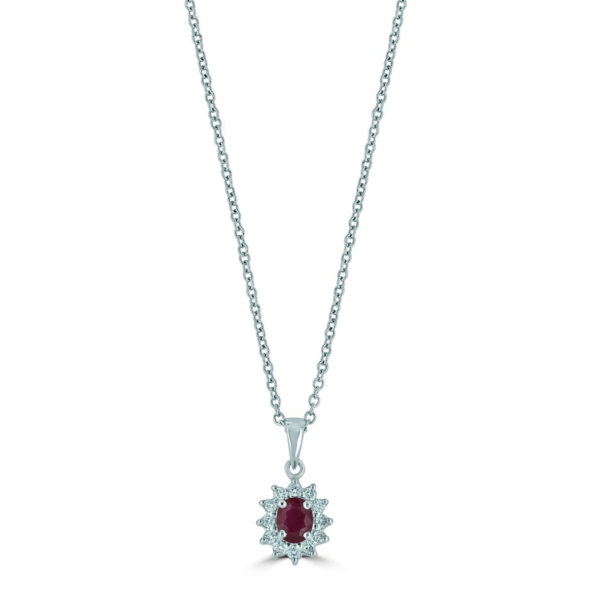 18ct White Gold Ruby And Diamond Cluster Necklace (chain Not Included) Throughout Most Recently Released Ruby And Diamond Cluster Necklaces (View 15 of 25)