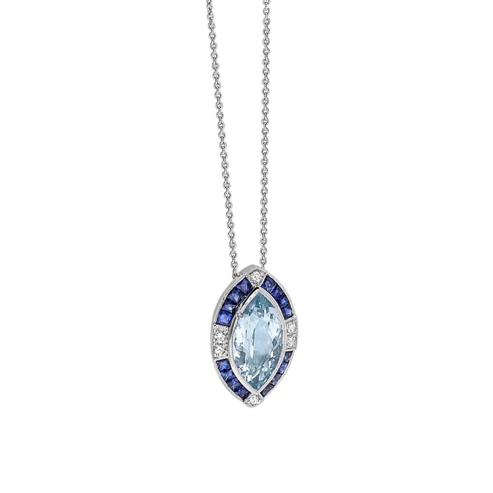 18Ct White Gold Sapphire And Aquamarine Marquise Art Deco Pendan Inside Best And Newest Sapphire, Aquamarine And Diamond Necklaces (View 1 of 25)