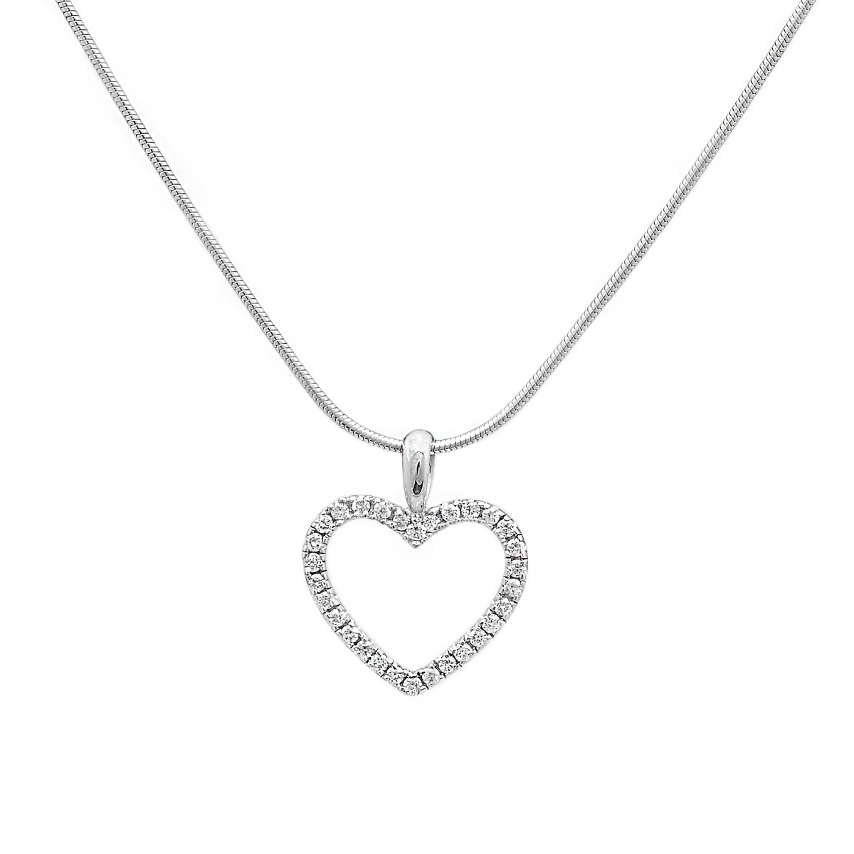 18ct White Gold Small Diamond Heart Pendant, (View 14 of 25)