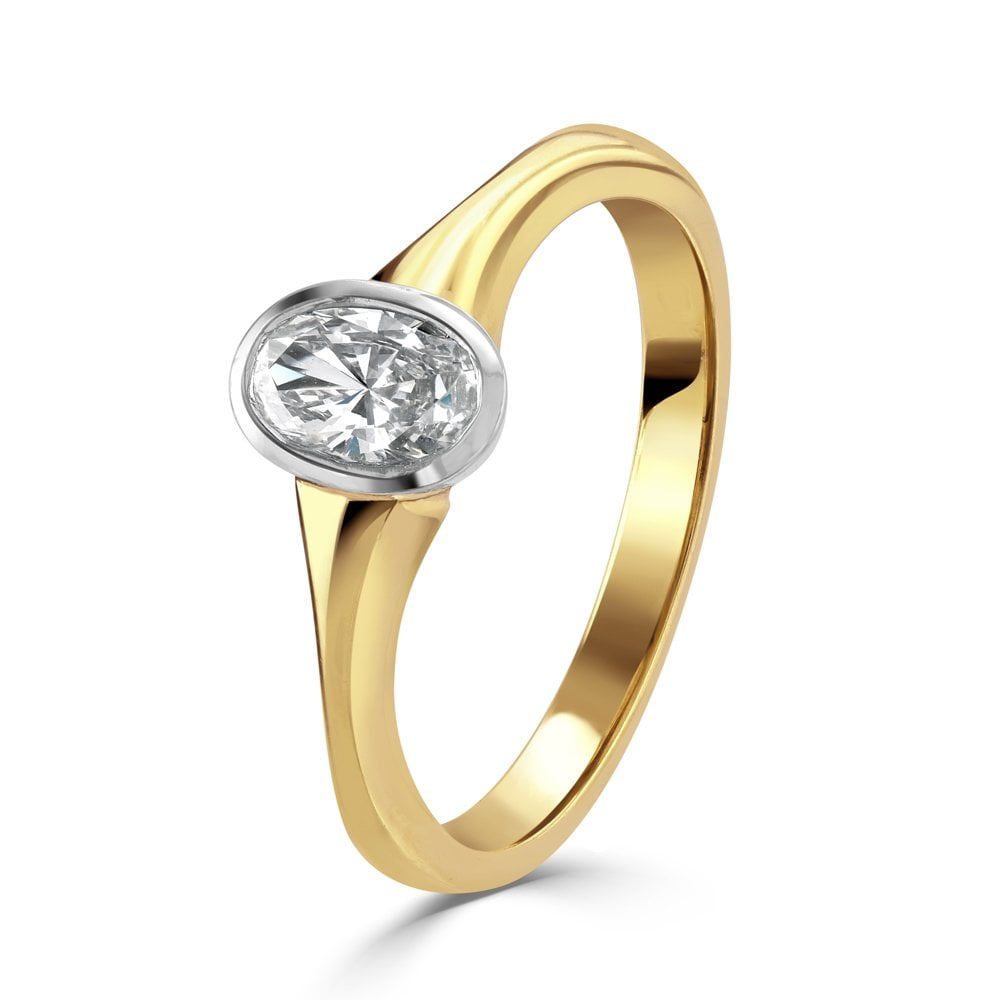 18Ct Yellow And White Gold Oval Cut Diamond Ring With Regard To Oval Shaped Yellow Diamond Rings (View 4 of 25)
