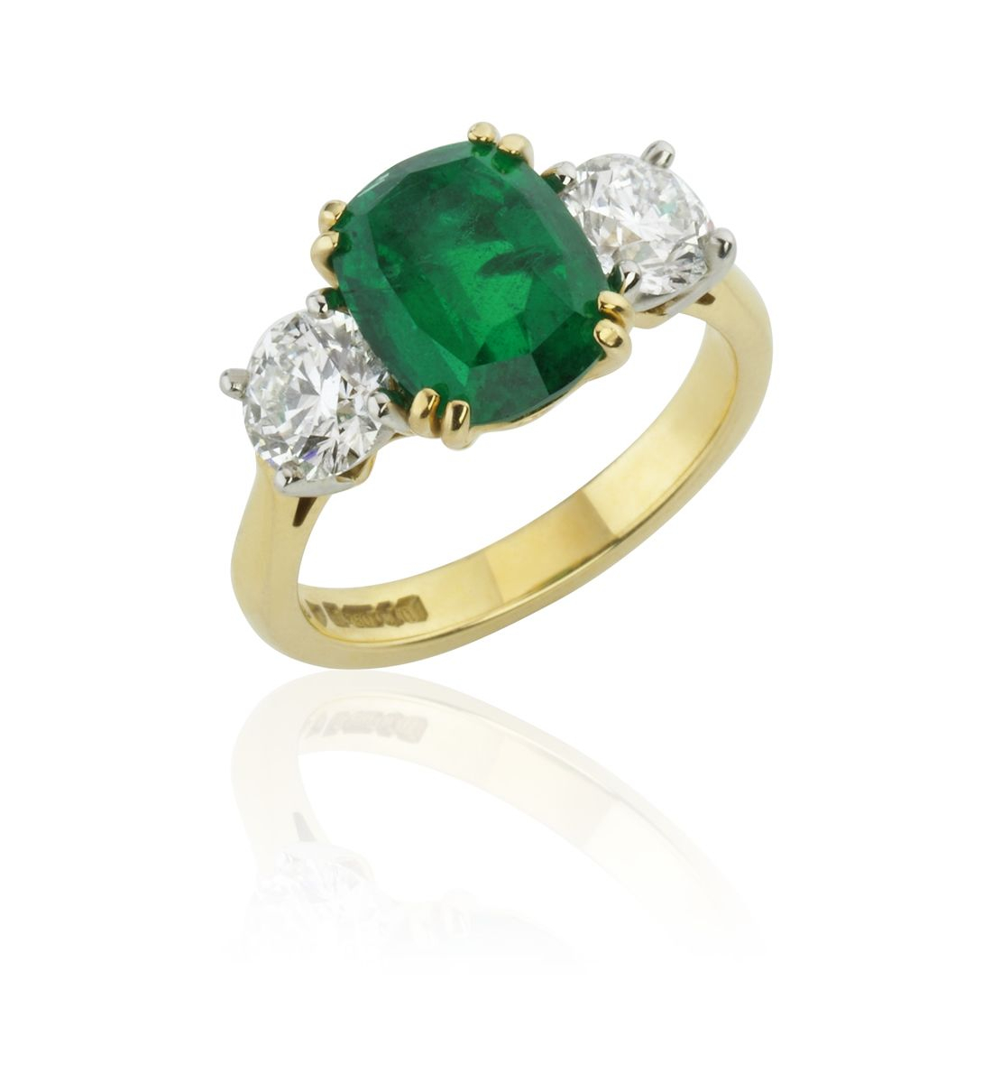 18ct Yellow Gold And Platinum Three Stone Oval Cut Zambian Emerald And Round Brilliant Cut Diamond R Inside Emerald And Diamond Three Stone Rings (View 12 of 25)