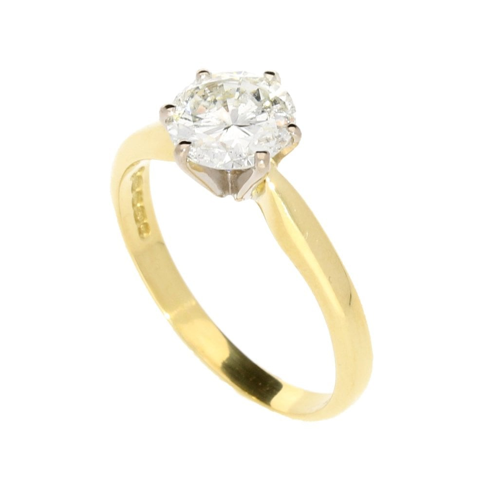 18Ct Yellow Gold Round Brilliant Cut Diamond Ring –  (View 6 of 25)