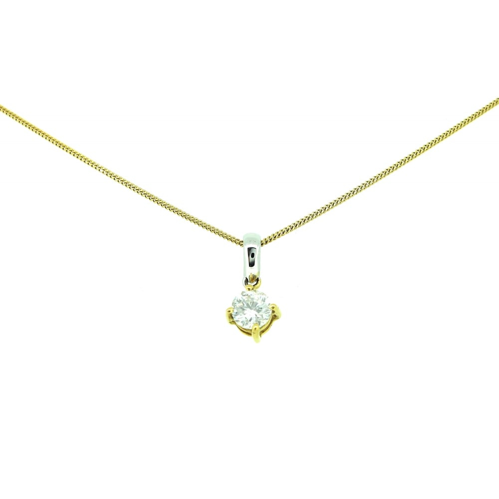 """18Ct Yellow Gold/white Gold Diamond Pendant And 18"""" Chain Within Recent Diamond Necklaces In Yellow Gold (View 6 of 25)"""