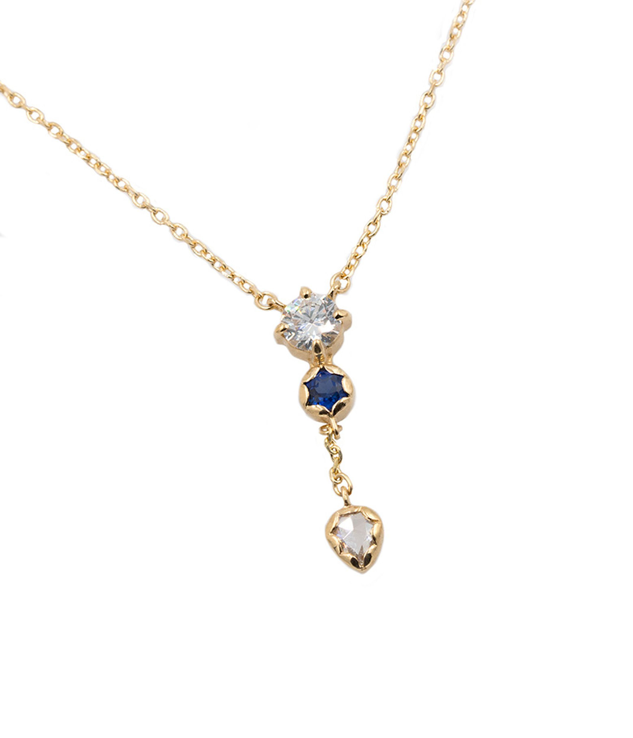 18K Diamond And Blue Sapphire Lariat Necklace | Clothing In With Most Recent Lariat Sapphire And Diamond Necklaces (View 2 of 25)