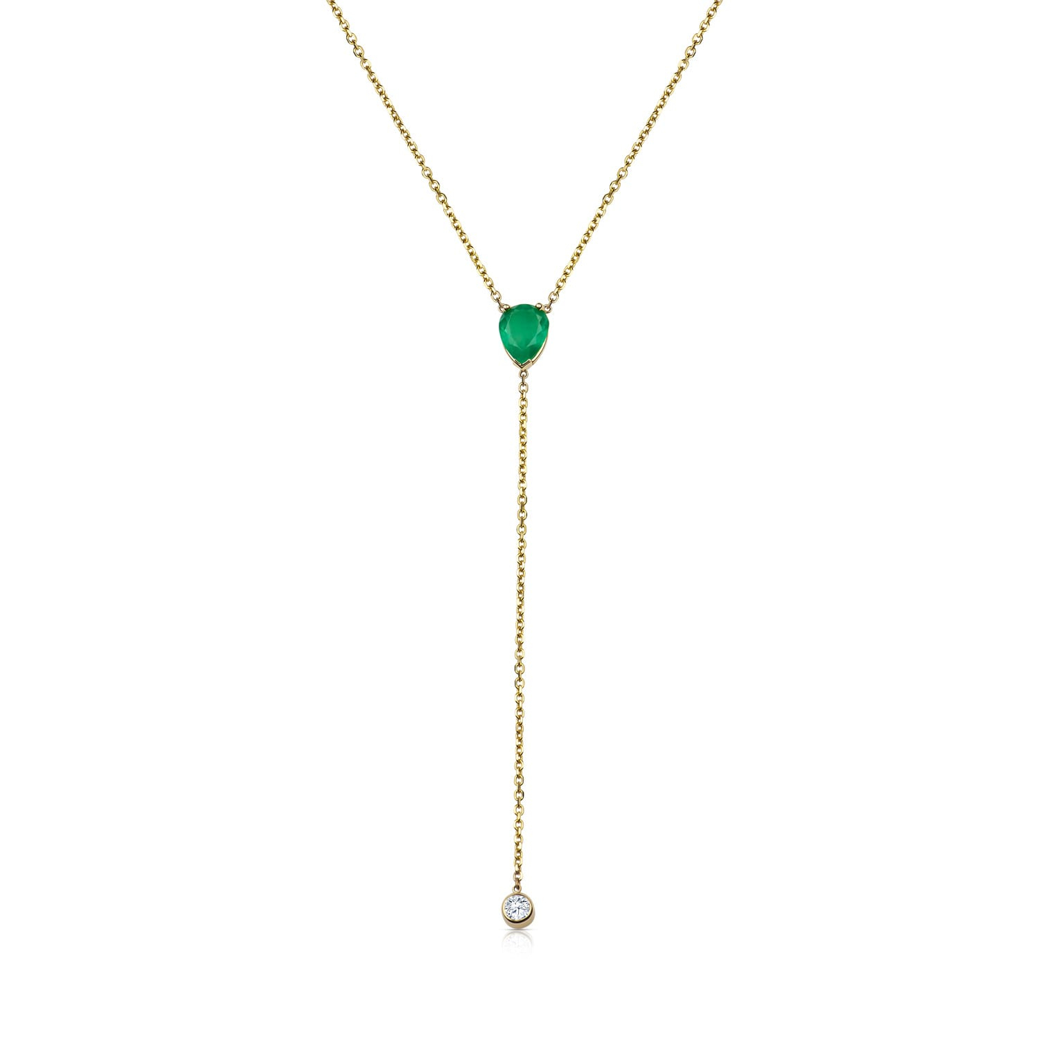 18K Emerald Diamond Drop Lariat Necklace – Itouchdiamonds Regarding Best And Newest Lariat Sapphire And Diamond Necklaces (View 3 of 25)