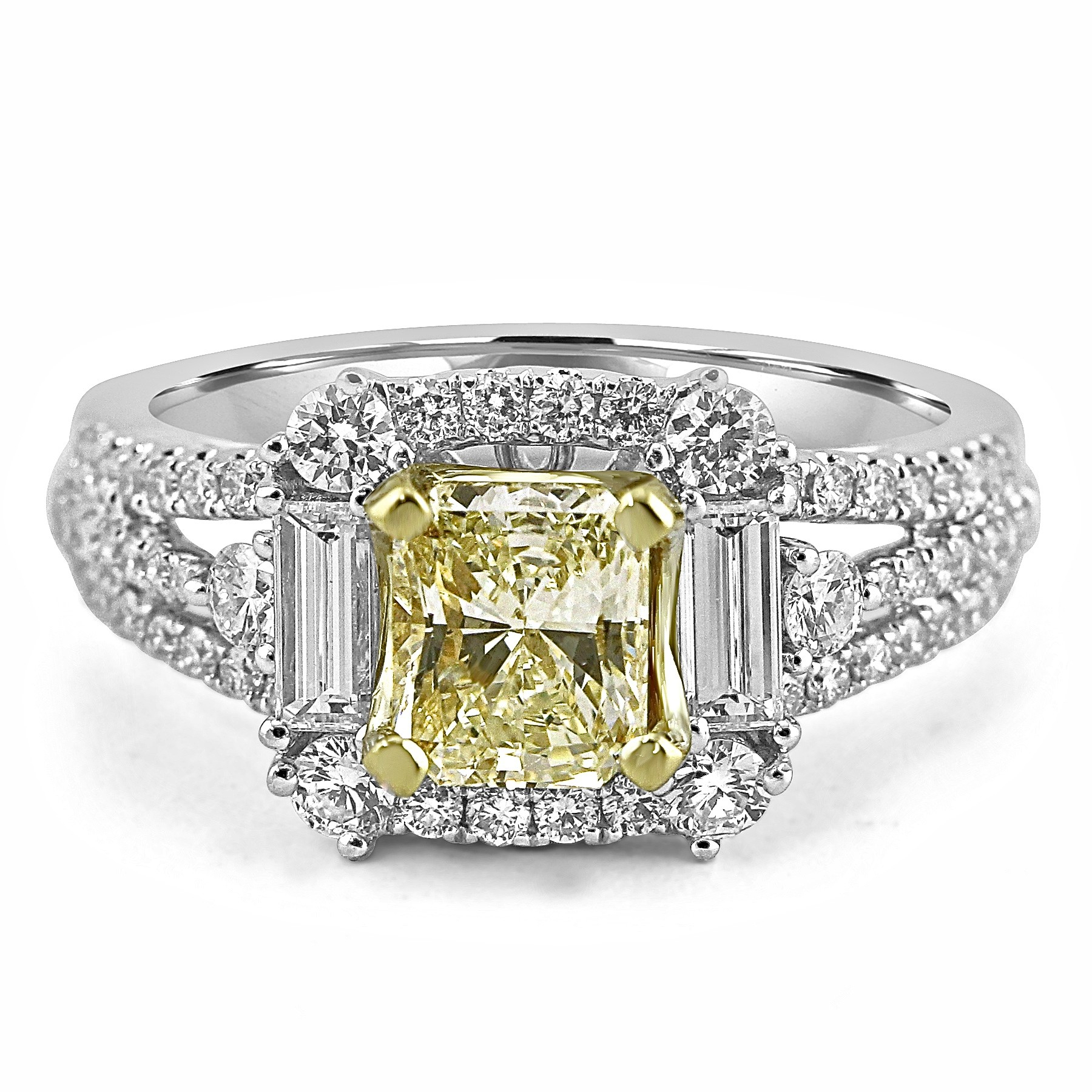 18k W/g Radiant Cut Fancy Yellow Diamond Engagement Ring Intended For Radiant Yellow Diamond Rings (View 14 of 25)