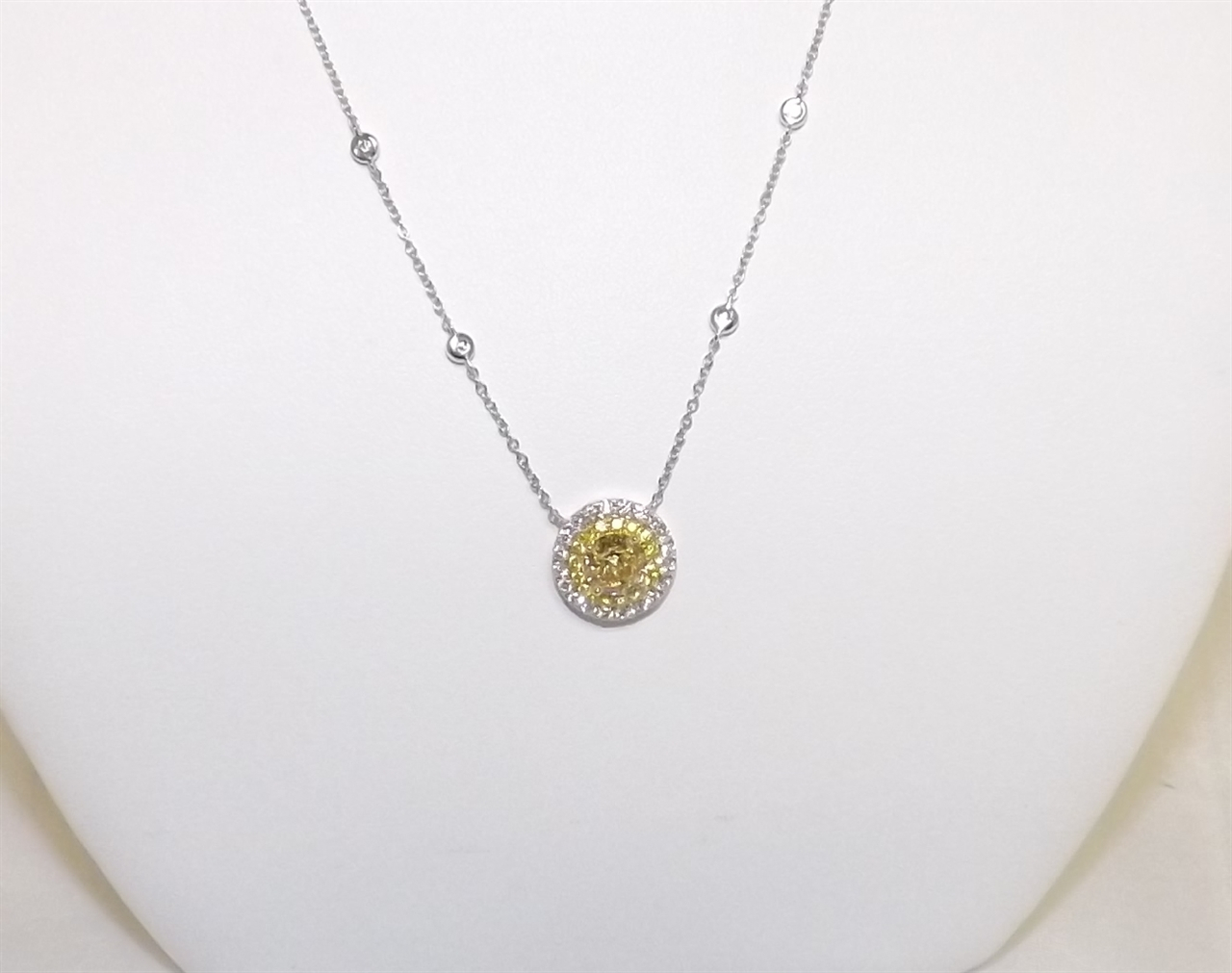 18K White Gold And Fancy Yellow Diamond Necklace Throughout Newest Diamond Necklaces In Yellow Gold (View 7 of 25)