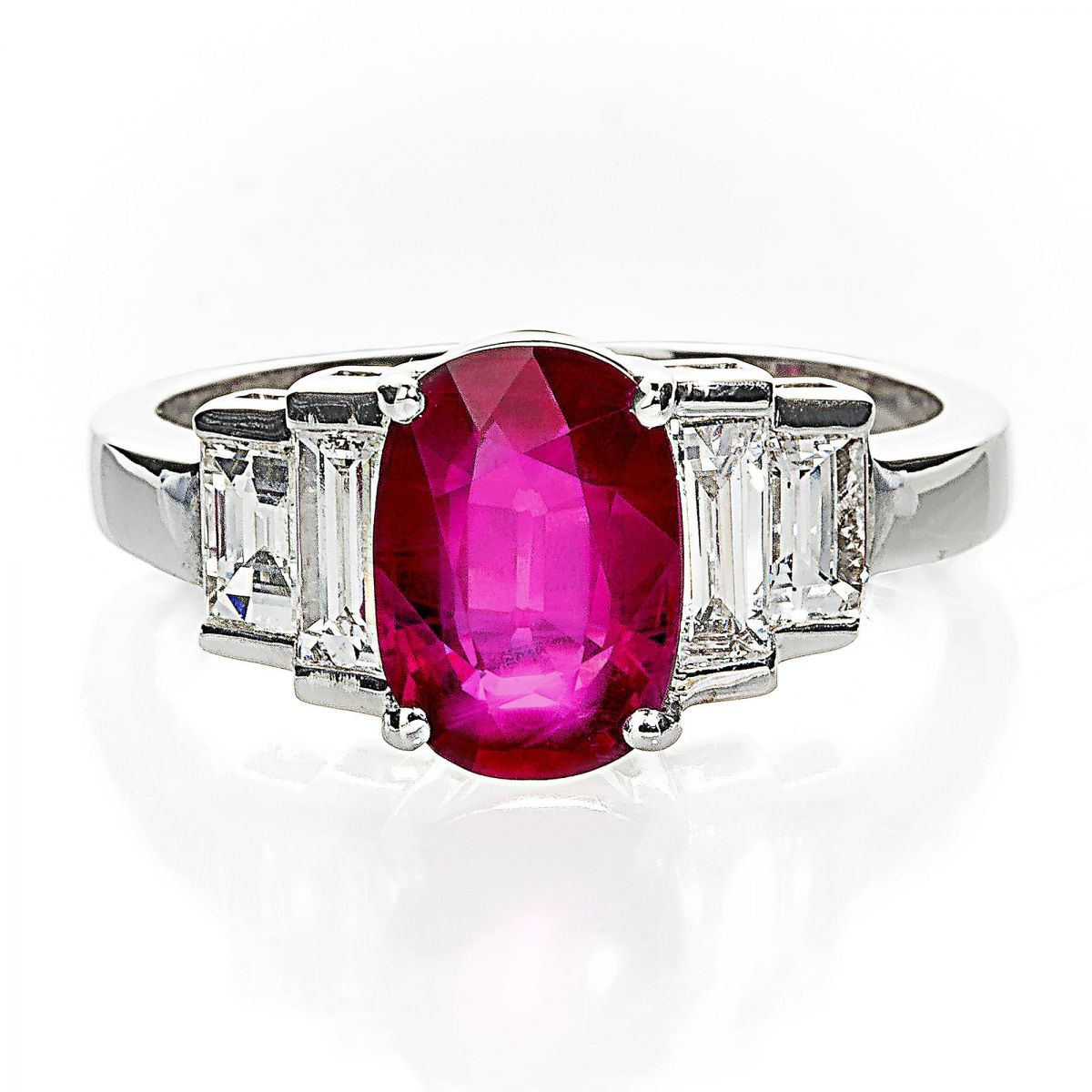 18k White Gold Cushion Cut Natural Ruby And Diamond Ring Within Cushion Cut Ruby Rings (View 6 of 25)