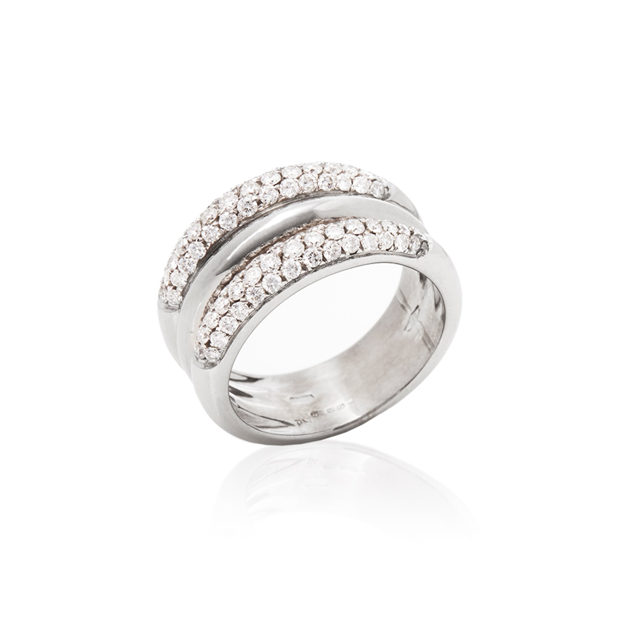 18k White Gold Diamond Signature Band Throughout Best And Newest Signature Bands Ring (View 15 of 25)