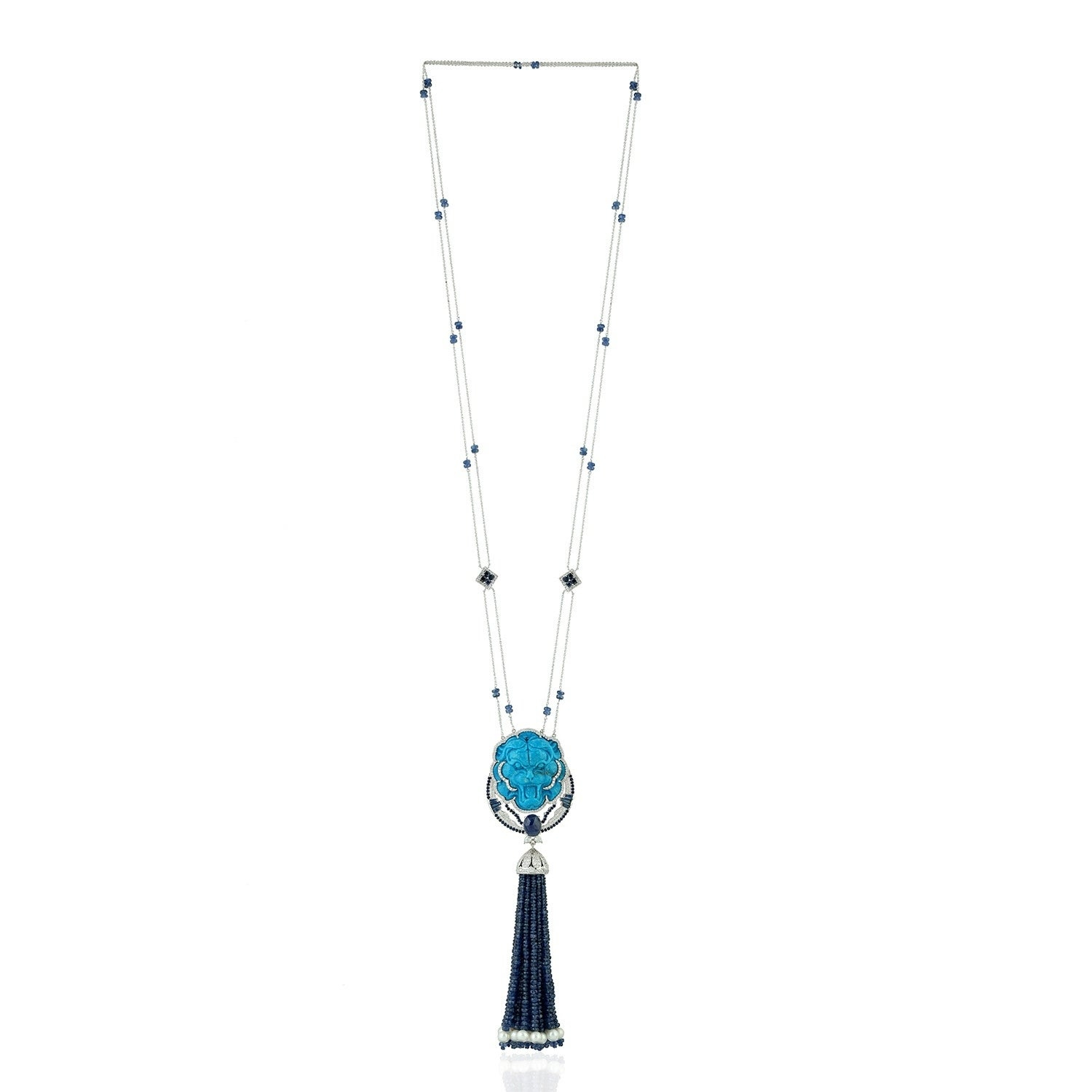 18Kt Gold Diamond Carving Pearl Sapphire Turquoise Rope/lariat Necklace  Tassel Jewelry With Most Up To Date Lariat Sapphire And Diamond Necklaces (View 4 of 25)