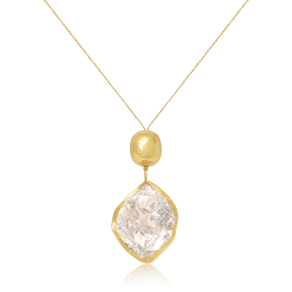 18kt Gold Herkimer Diamond Pendant With Gold Bead Intended For Current Small Diamond Necklaces (View 15 of 25)
