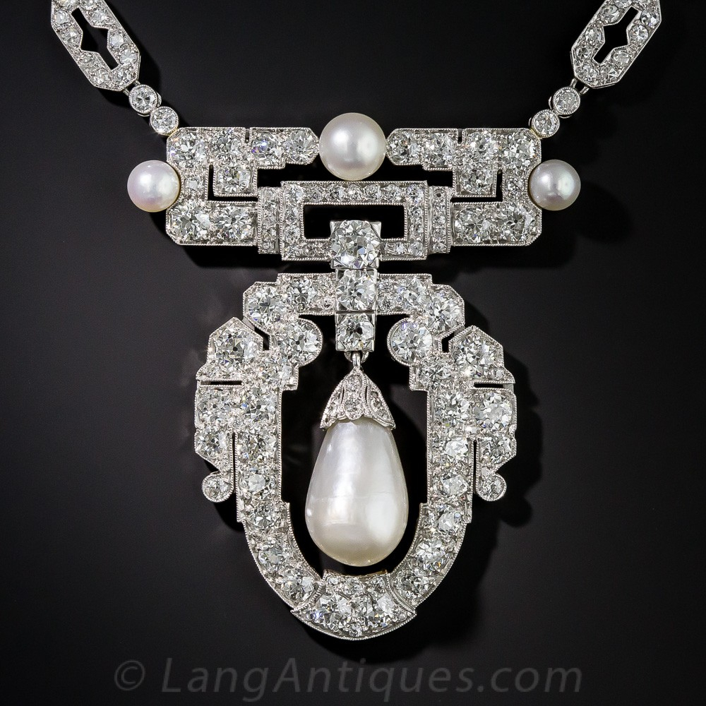 1920s Natural Pearl, Platinum And Diamond Necklace With Regard To Most Up To Date Diamond Necklaces In Platinum (View 6 of 25)