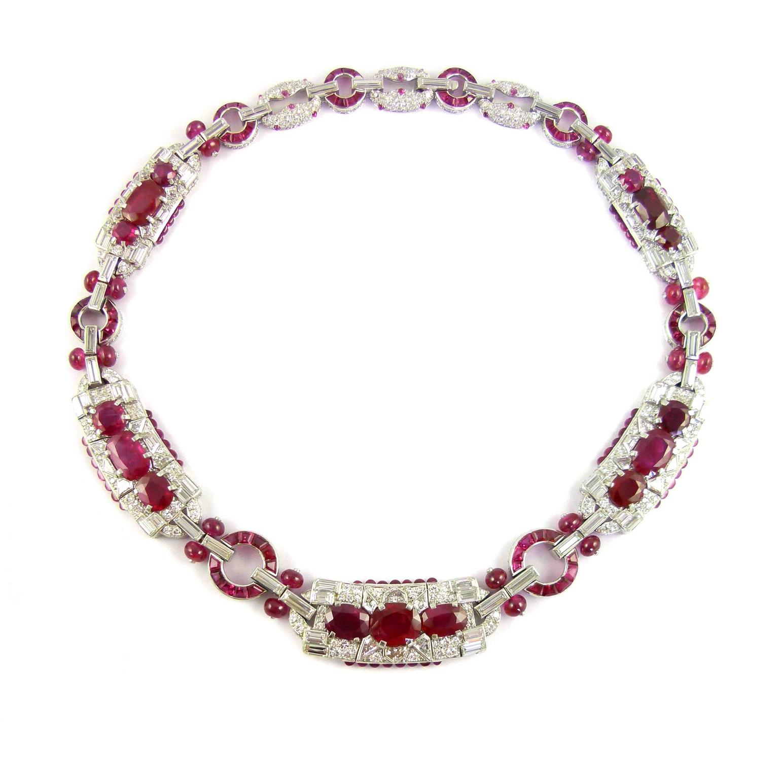 1930S Burmese Ruby Necklace Pertaining To Current Ruby And Diamond Cluster Necklaces (View 9 of 25)