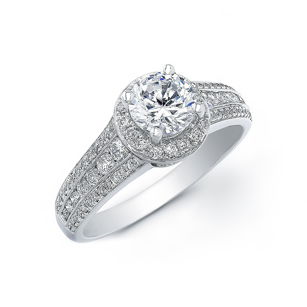2.12ct. Natural Diamond Round Cut 3 Row Shank Halo Pave Diamond Engagement Ring 14k White Gold Gia Within Triple Row Micropavé Diamond Engagement Rings (Gallery 13 of 25)
