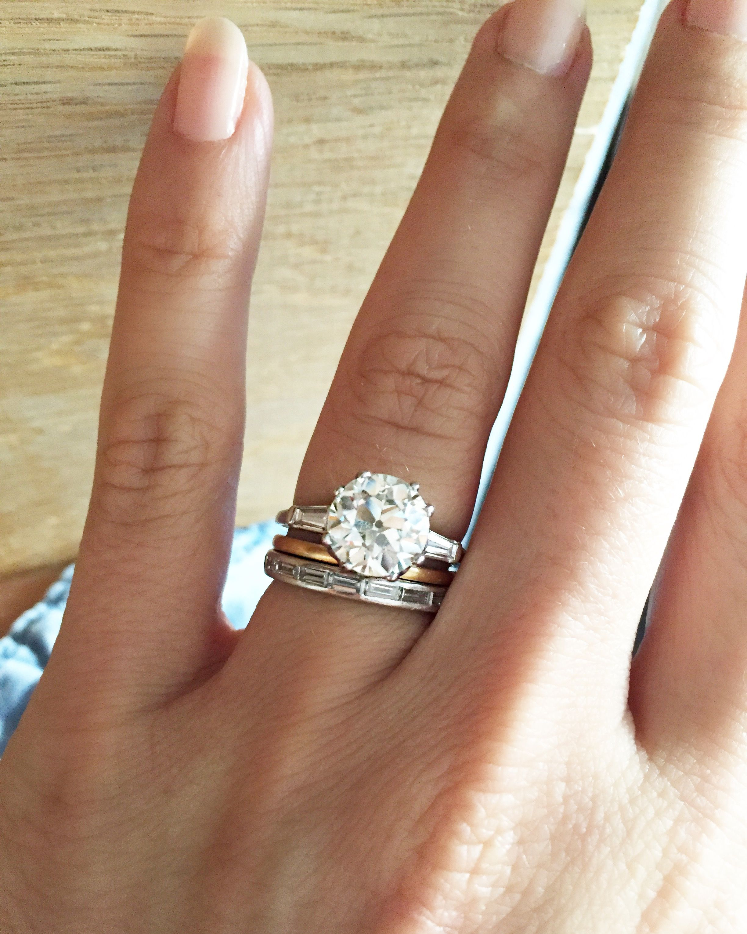 2.60 Carat Old European Cut Diamond Engagement Ring With With Heart Shaped Engagement Rings With Tapered Baguette Side Stones (Gallery 10 of 25)