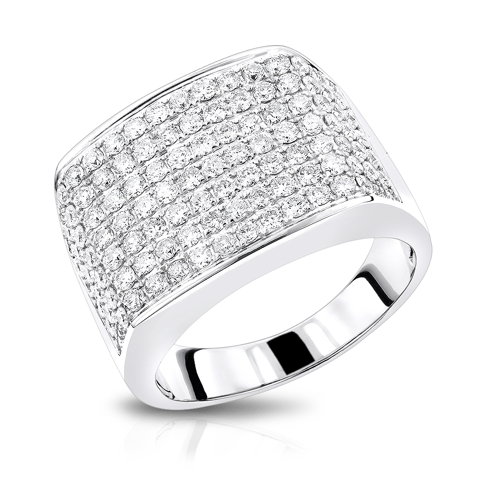 2 Carat Mens Diamond Ring In 14K Gold Large Diamond Bandluxurman For Most Recently Released Micropavé Diamond Large Wedding Bands (Gallery 20 of 25)