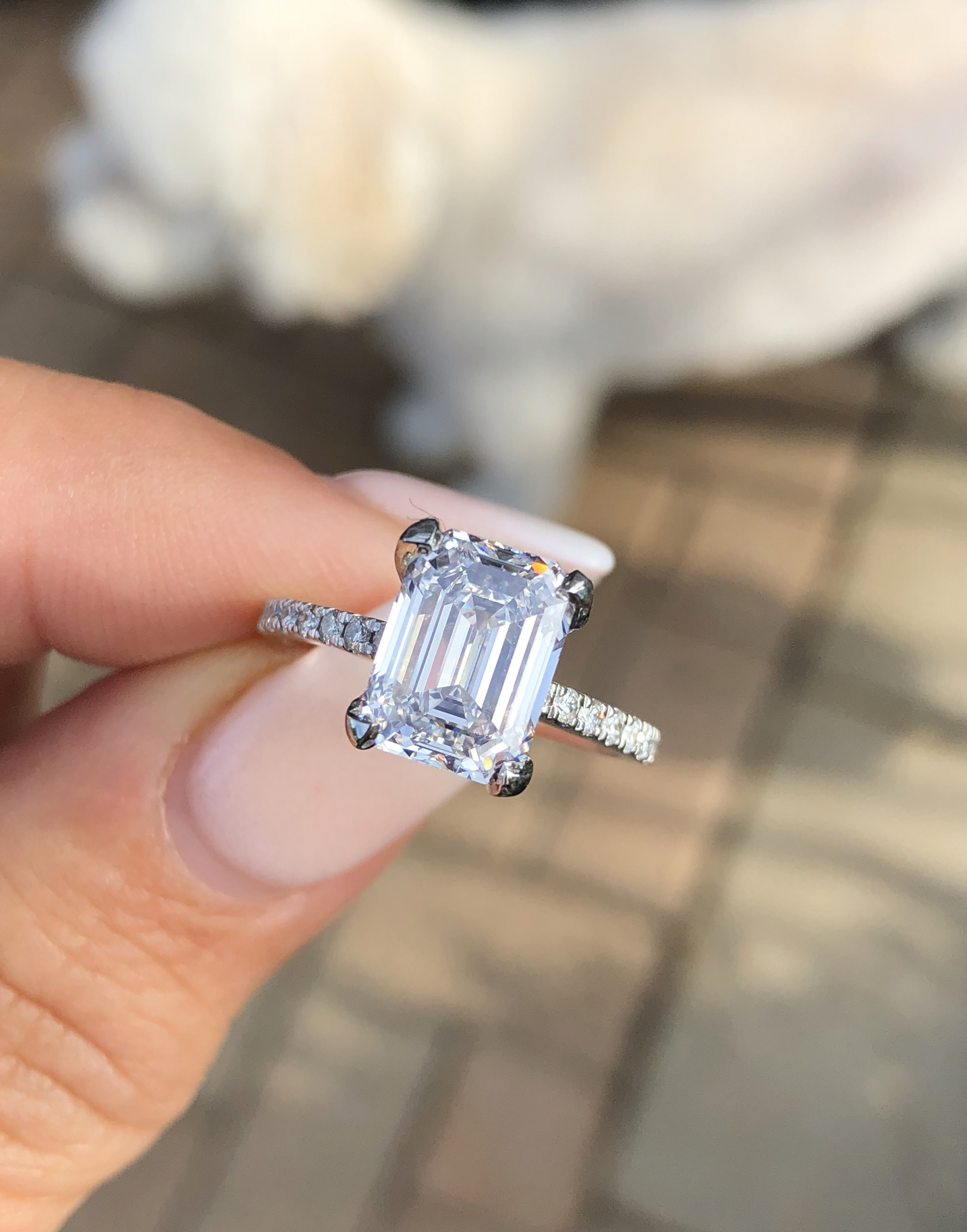 3.01 Emerald Cut Diamond Solitaire (View 7 of 25)