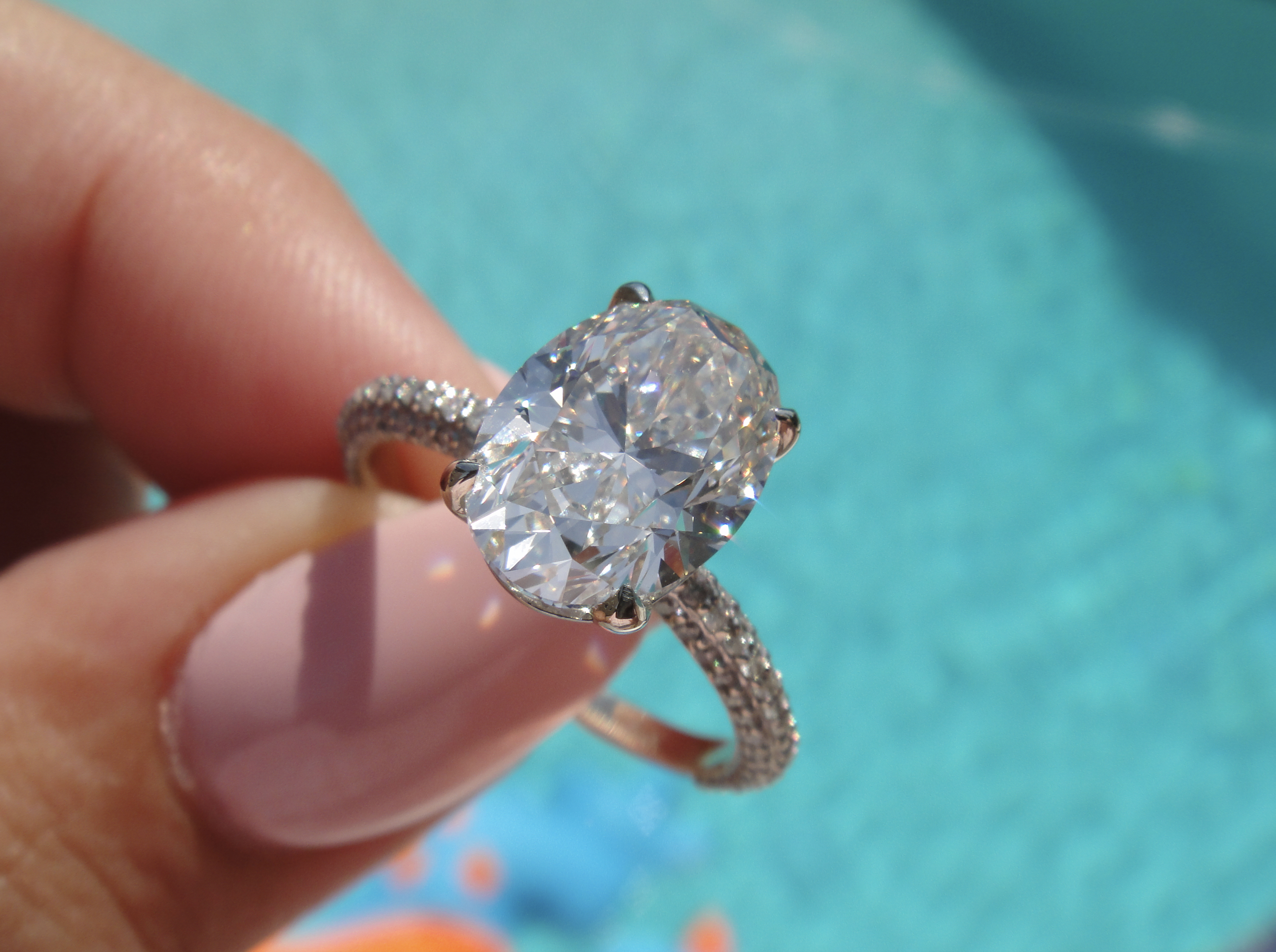 3.27ct Oval Pave Diamond Ring  (View 23 of 25)