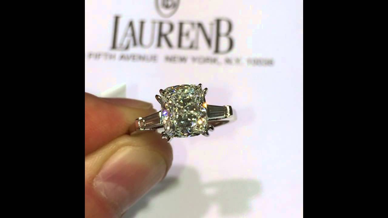 3 Carat Cushion Diamond In 3 Stone Engagement Ring Setting In Cushion Cut Engagement Rings With Tapered Baguette Side Stones (View 2 of 25)