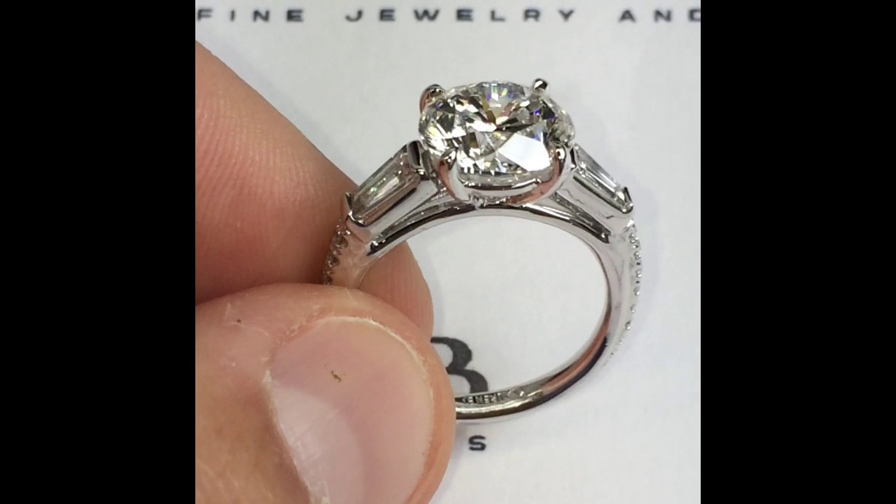 3 Carat+ Round Diamond Engagement Ring In 3 Stone Baguette For Round Brilliant Engagement Rings With Tapered Baguette Side Stones (View 1 of 25)