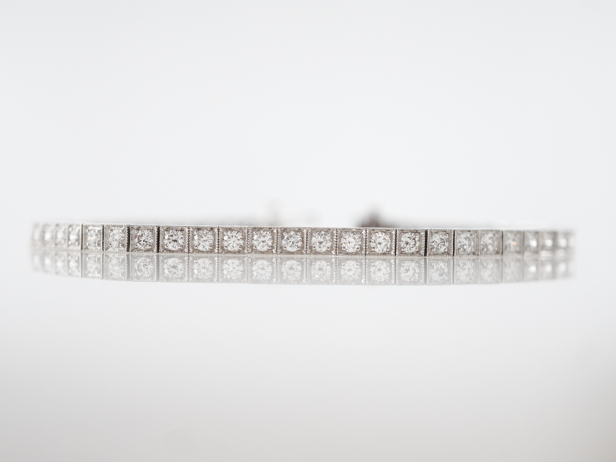 3 Carat Straight Line Diamond Bracelet In Platinum With Regard To Current Round Brilliant Diamond Straightline Necklaces (View 2 of 25)