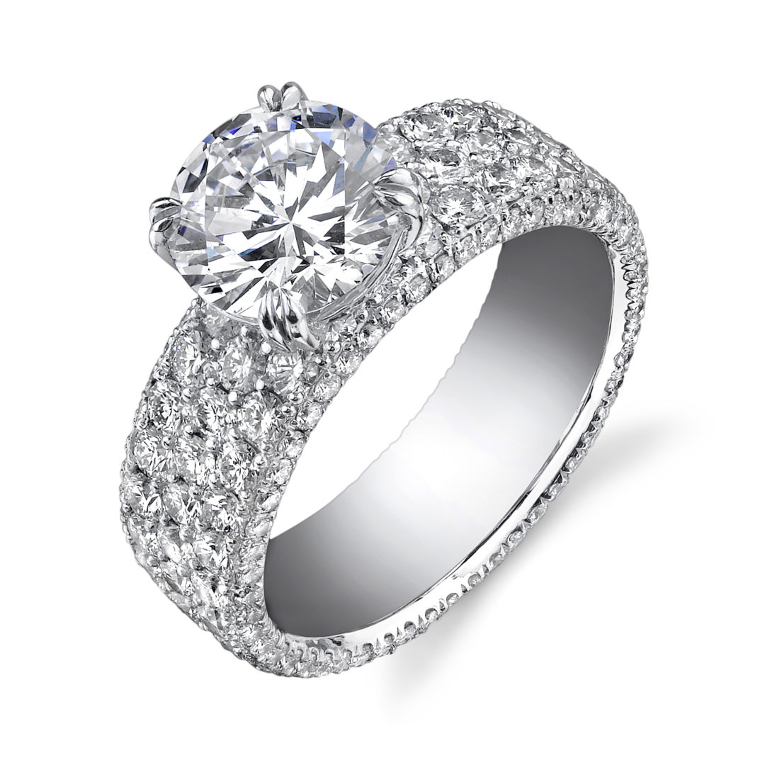 3 Row Pave Diamond Solitaire Ring | Nicole Mera Intended For Triple Row Micropavé Diamond Engagement Rings (View 7 of 25)
