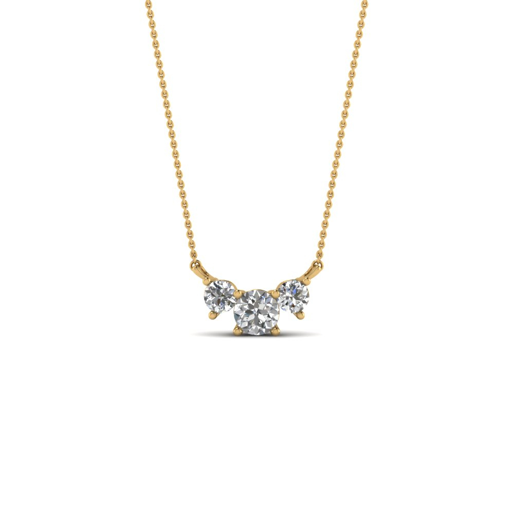 3 Stone Diamond Pendant With Regard To Most Up To Date Diamond Necklaces In Yellow Gold (View 3 of 25)