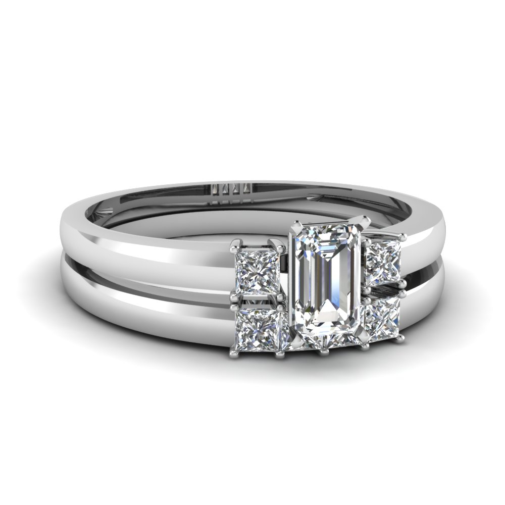 3 Stone Emerald Cut Diamond Wedding Ring Set In 14K White Gold Inside Newest Prong Set Emerald Cut Diamond Wedding Bands (View 2 of 25)