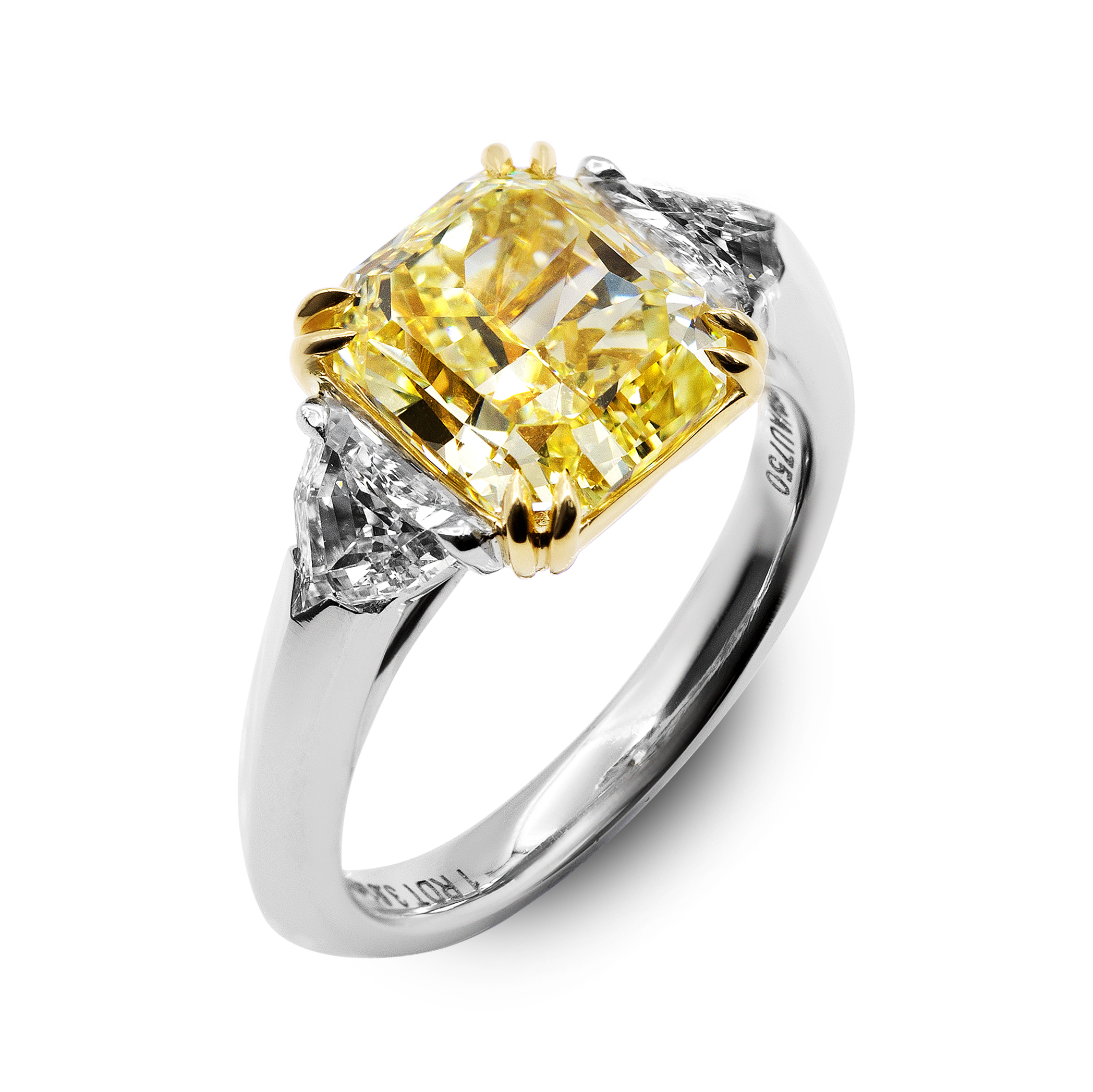 3 Stone Radiant Cut Fancy Yellow Diamond Engagement Ring Intended For Radiant Yellow Diamond Rings (View 17 of 25)