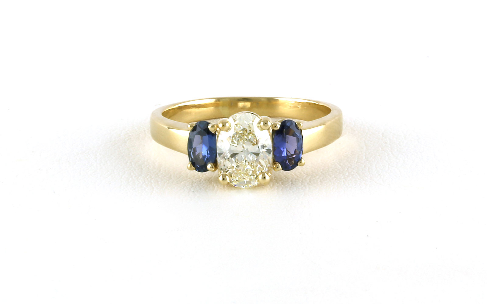 3 Stone Style Oval Cut Diamond And Montana Yogo Sapphire Ring In Yellow Gold Inside Oval Shaped Yellow Diamond Rings (View 7 of 25)