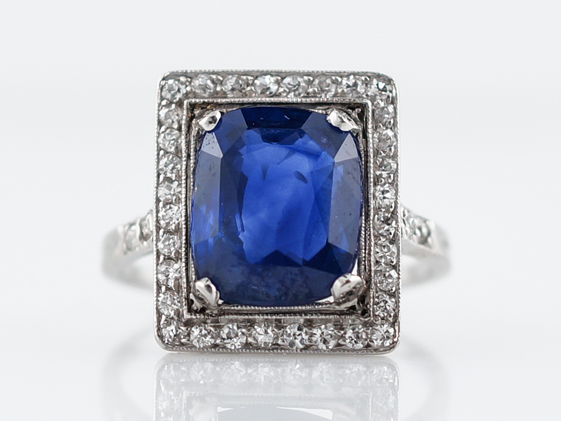 4 Carat Cushion Sapphire Engagement Ring Art Deco Regarding Cushion Cut Sapphire Rings (View 3 of 25)