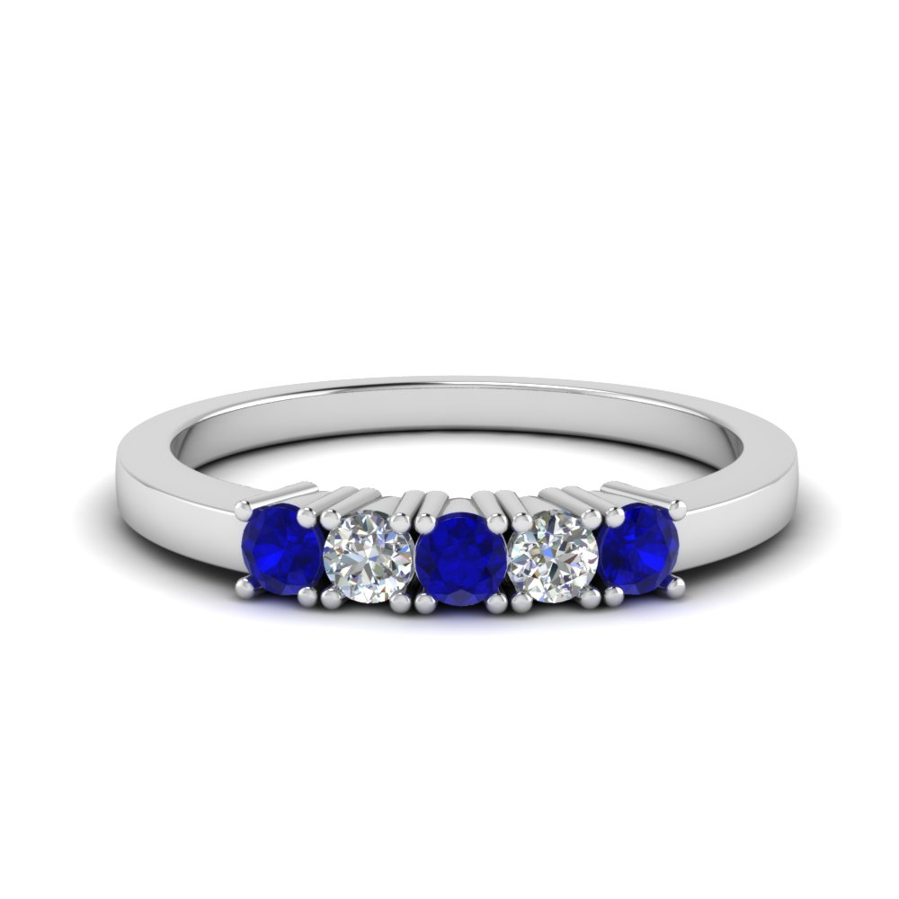 5 Stone Diamond Anniversary Band Intended For Latest Prong Set Round Brilliant Sapphire And Diamond Wedding Bands (View 4 of 25)