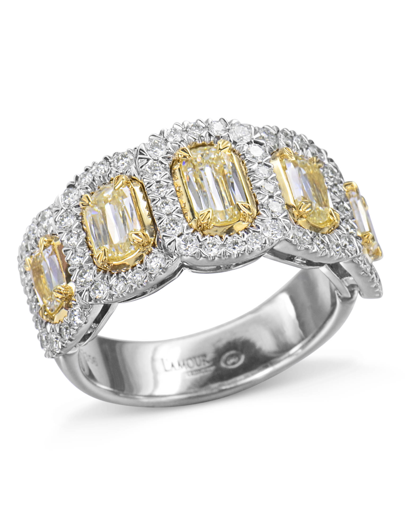 5 Stone Oval Yellow Diamond Ring With Regard To Oval Shaped Yellow Diamond Rings (View 12 of 25)
