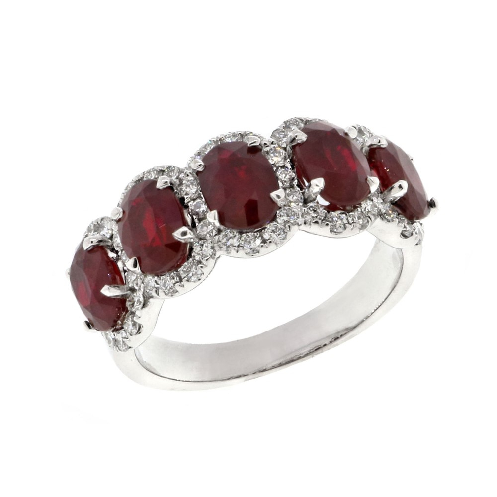 5 Stone Prong Set Oval Ruby And Pave Diamond Halo Band In Oval Shaped Ruby Micropavé Rings (View 11 of 25)