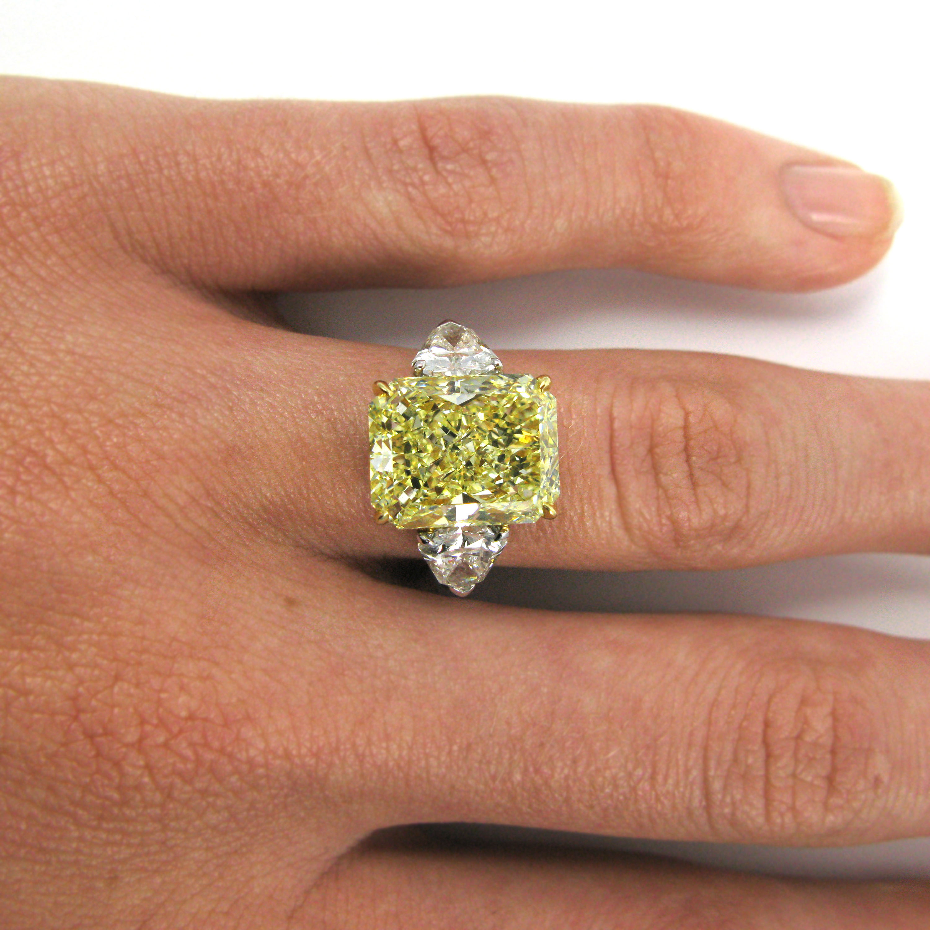 7.17 Carat Fancy Yellow Radiant Cut Diamond Ring Gia With Radiant Yellow Diamond Rings (Gallery 2 of 25)