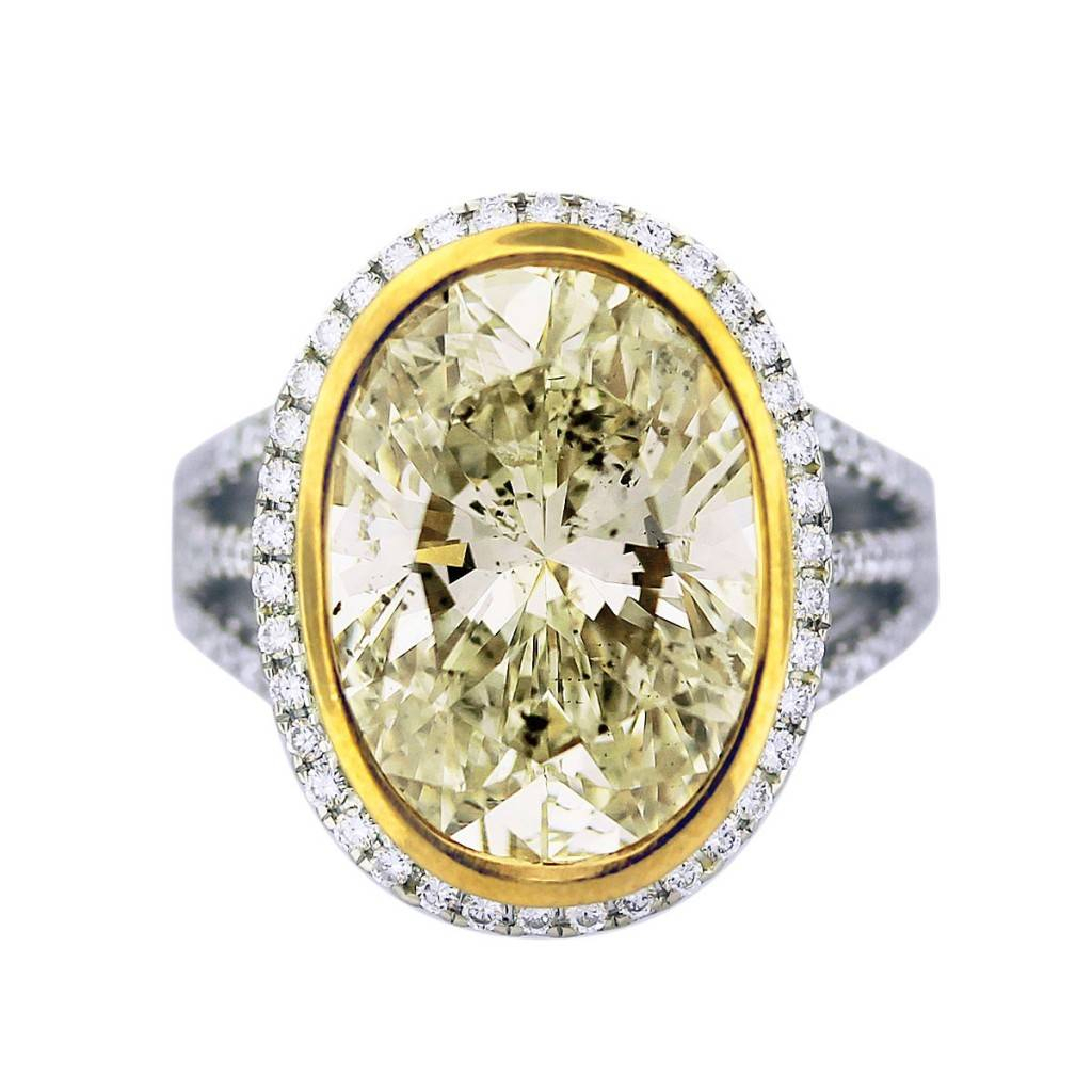 8 Carat Light Fancy Yellow Diamond Engagement Ring 18K Two Tone Gold Intended For Oval Shaped Yellow Diamond Rings (View 11 of 25)
