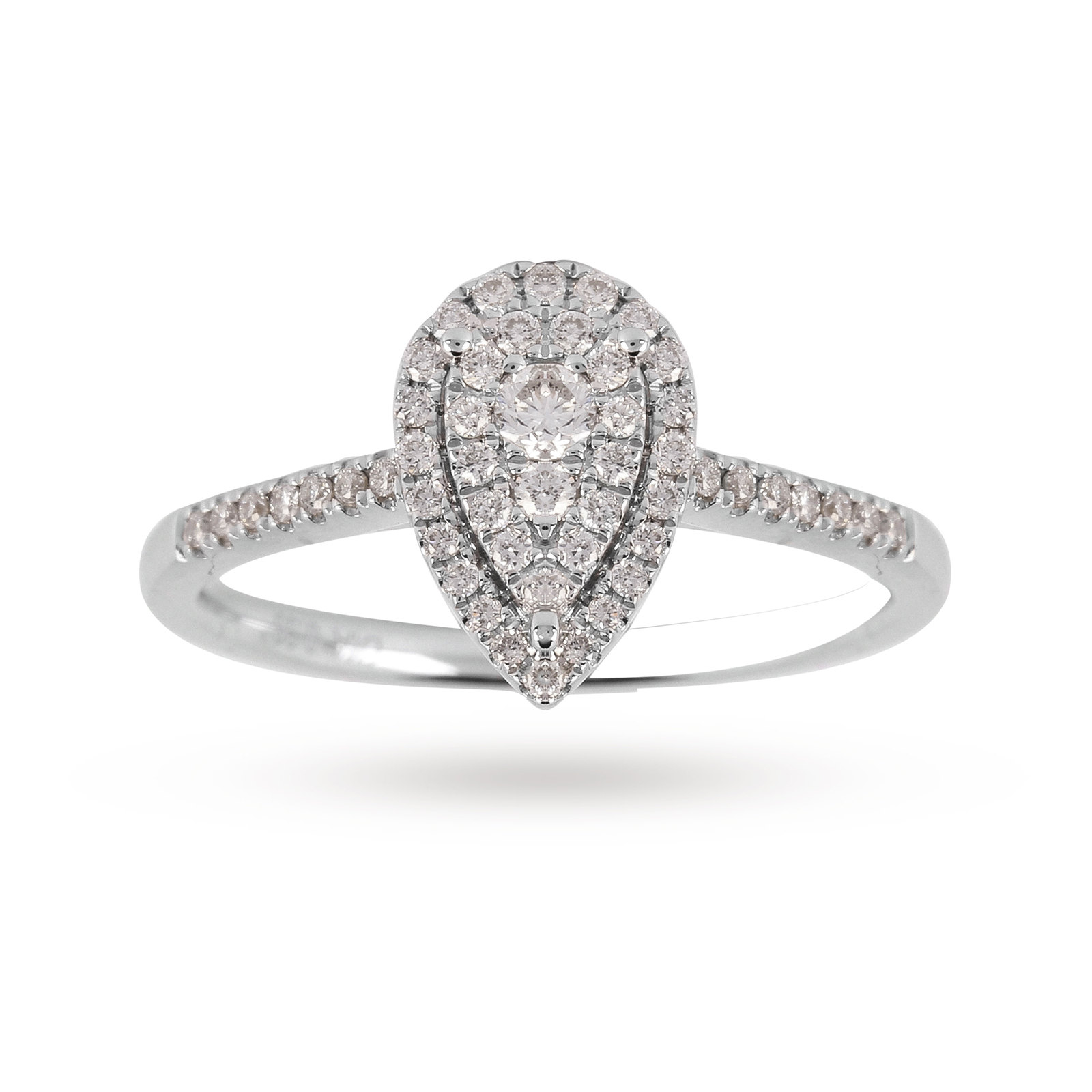 9Ct White Gold Diamond Multi Stone Halo Pear Shaped Ring Intended For Pear Shaped Engagement Rings (View 4 of 25)