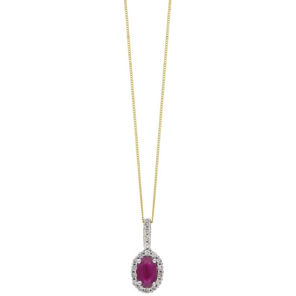 9Ct White Gold Oval Ruby And Diamond Cluster Pendant Drp239 Ruby With Regard To Most Up To Date Ruby And Diamond Cluster Necklaces (View 10 of 25)