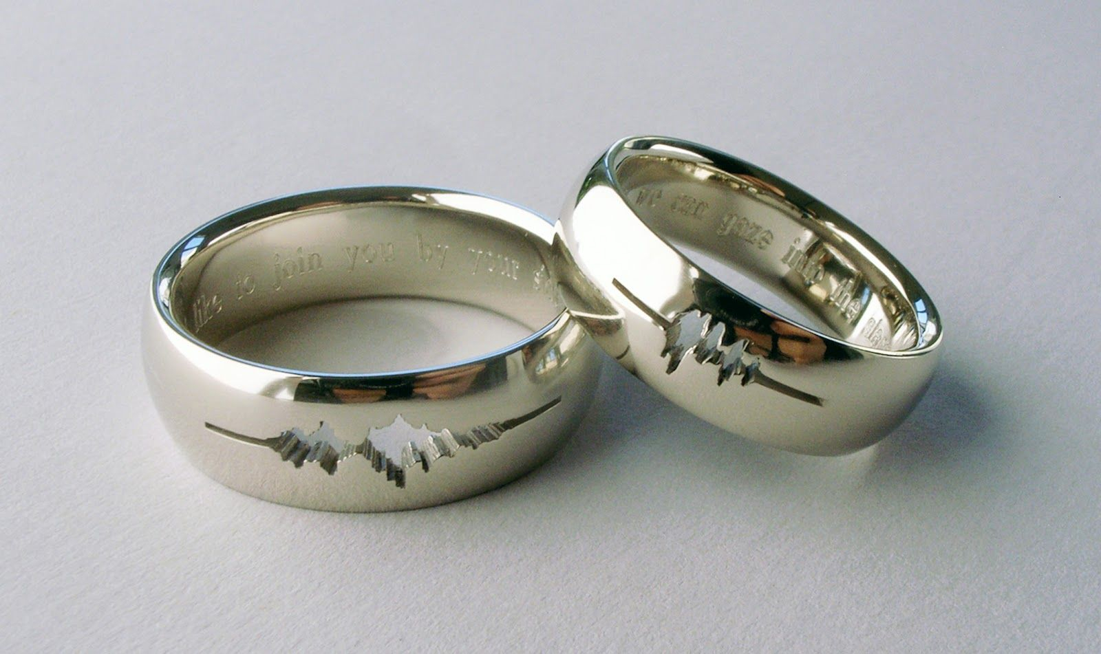 A Couple Had Their Wedding Rings Engraved With A Waveform Of Regarding Most Current Wave Diamond Wedding Bands (View 9 of 25)