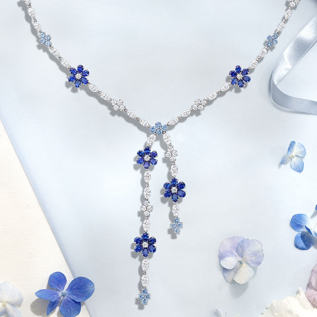 A Delicate Forget Me Not Lariat Sapphire And #diamond Pertaining To 2020 Lariat Sapphire And Diamond Necklaces (View 6 of 25)