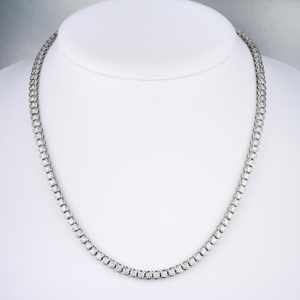 A Diamond Straight Line Necklace Regarding Best And Newest Round Brilliant Diamond Straightline Necklaces (View 5 of 25)
