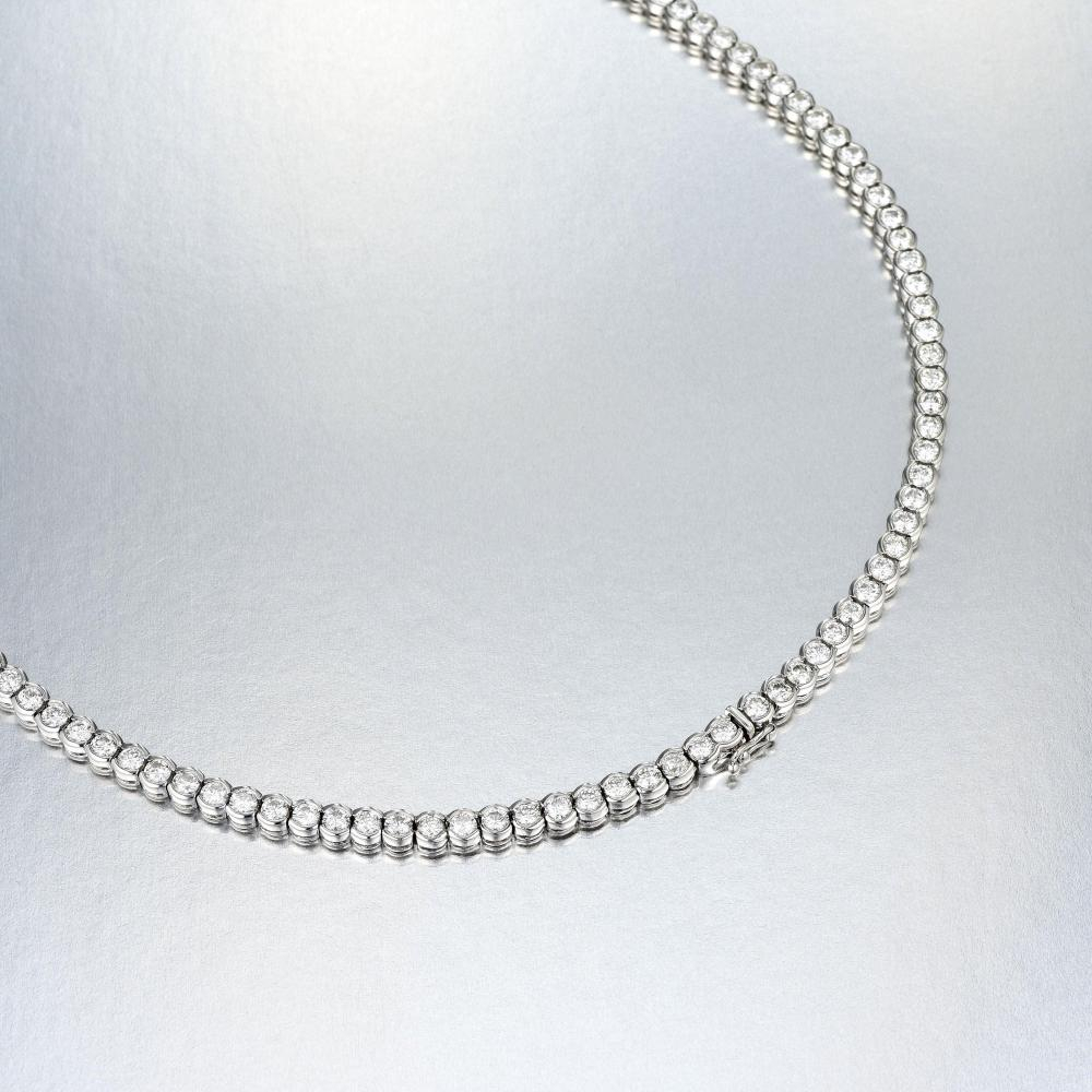 A Diamond Straight Line Necklace With Regard To Most Up To Date Round Brilliant Diamond Straightline Necklaces (View 6 of 25)