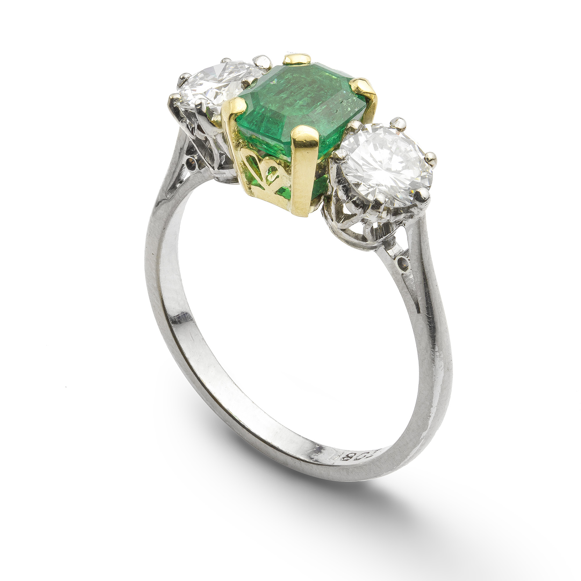 A Three Stone Emerald And Diamond Ring – Bentley & Skinner, The Mayfair Antique And Bespoke Jewellery Shop In The Heart Of London Throughout Emerald And Diamond Three Stone Rings (View 7 of 25)